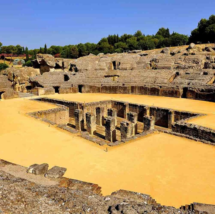 Roman Amphitheater of Italica in Seville, Spain